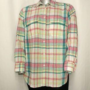 Chaps Pastel Plaid Linen Cotton Button Shirt 1X
